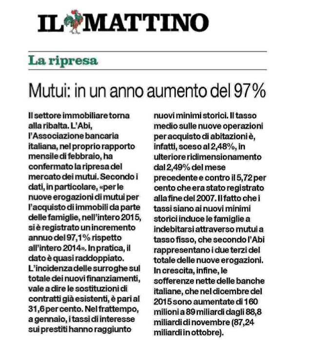 Mutui aumentati del 97% nel 2015 rispetto al 2014