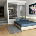 Rendering 3d camera da letto, con vasca idromassaggio a vista