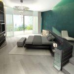 Rendering 3d camera da letto, parete verde