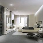 Rendering 3d camera da letto, arredamento modrno