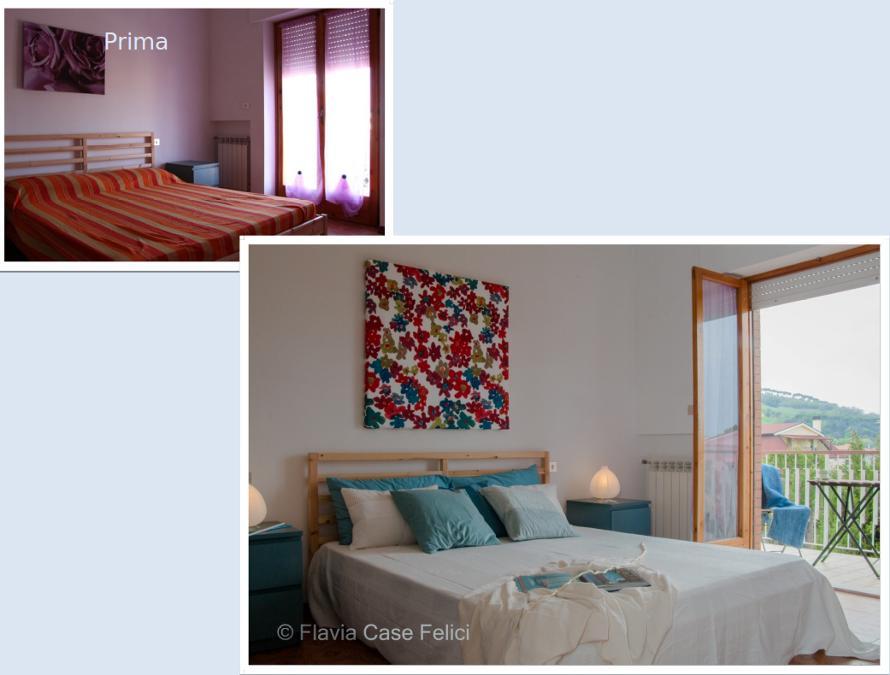 Home staging camera letto prima e dopo