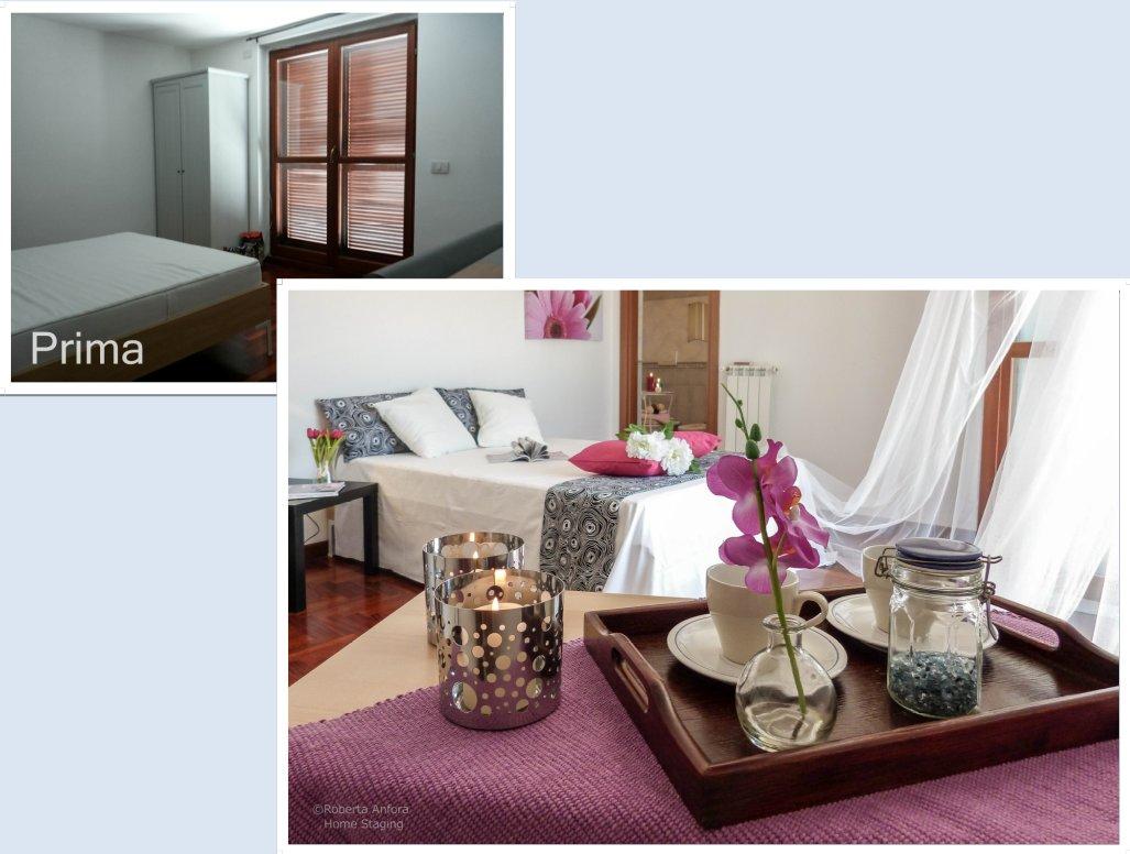 Home staging camera matrimoniale prima e dopo