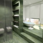 Rendering 3d bagno colore verde