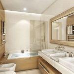 Rendering 3d bagno colore beige