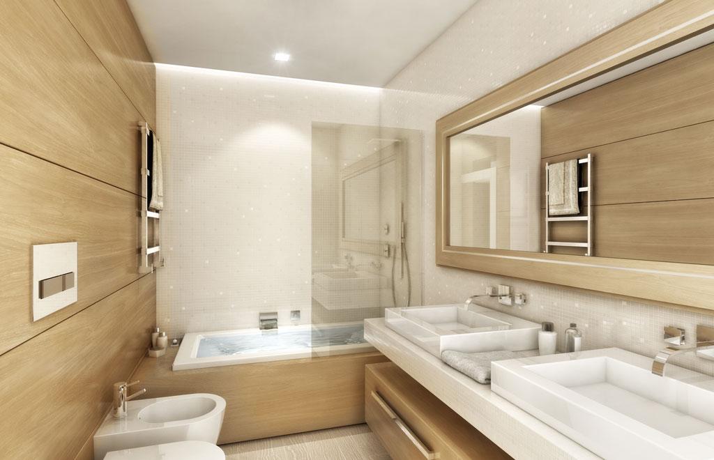 Rendering 3d immobiliare for Bagno beige