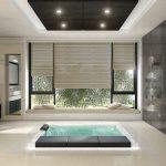 Rendering 3d bagno con grande vasca centrale