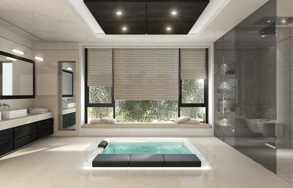 Rendering 3d immobiliare - Bagno in camera moderno ...