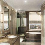 Rendering 3d bagno con grande finestra
