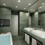 Rendering 3d bagno con vasca e lavandini rettangolari