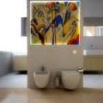 Rendering 3d bagno con pannello in vetro artistico