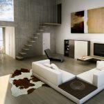 Rendering 3d salone stile essenziale