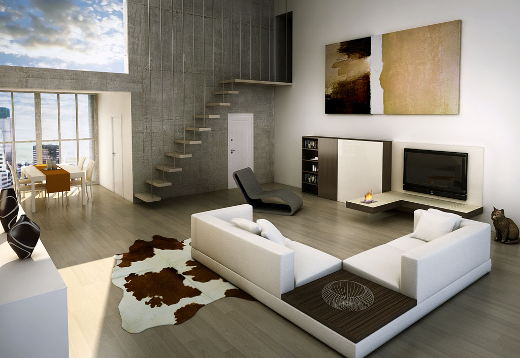 Rendering 3d immobiliare for Immagini living moderni