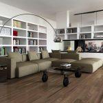 Rendering 3d salone con libreria a parete