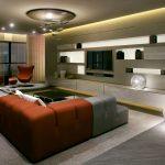 Rendering 3d salone con divano angolare a 2 colori tonalità luminosa scura