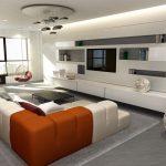 Rendering 3d salone con divano angolare a 2 colori