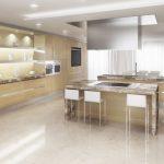 Rendering 3d cucina in legno chiaro e marmo